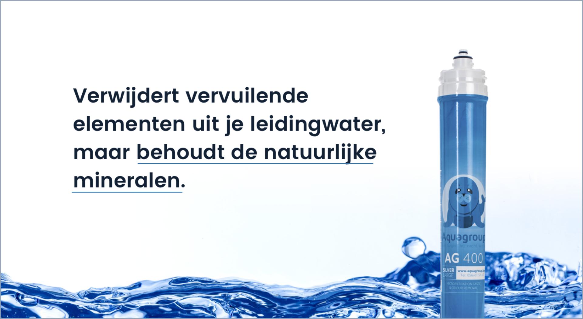 De drinkwaterfilter verwijdert vervuilende elementen uit je leidingwater, maar behoudt de natuurlijke mineralen.