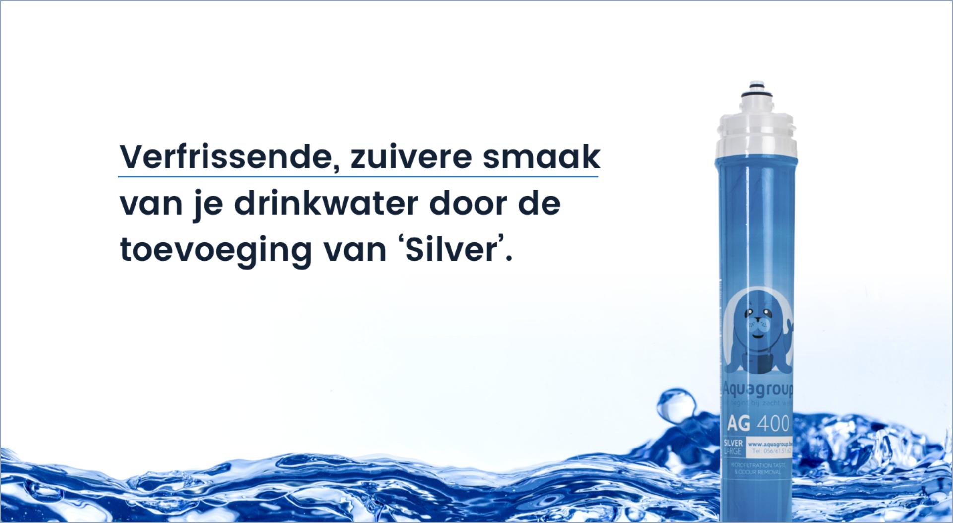 De drinkwaterfilter zorgt voor een verfrissende, zuivere smaak van je drinkwater door de toevoeging van Silver.