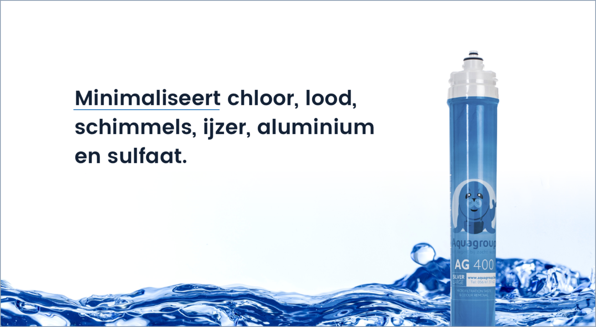 De drinkwaterfilter minimaliseert chloor, lood, schimmels, ijzer, aluminium en sulfaat.